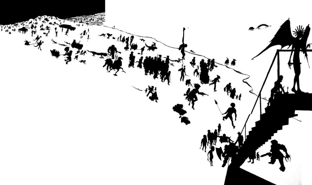 Wandbild, Kunst am Bau, Henrik Schrat, Silhouette, Schattenriss