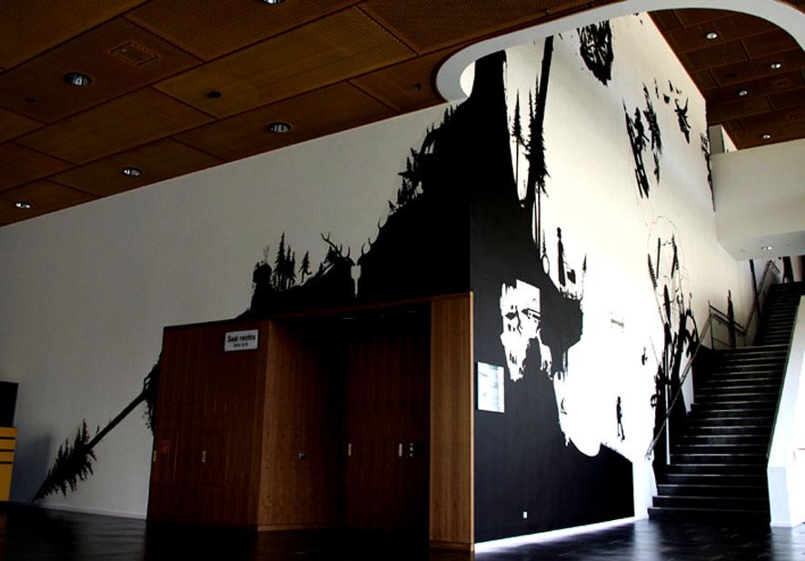 Wandbild, Mural, Kunst am Bau, Silhouette, Schattenriss, Greiz, Vogtlandhalle