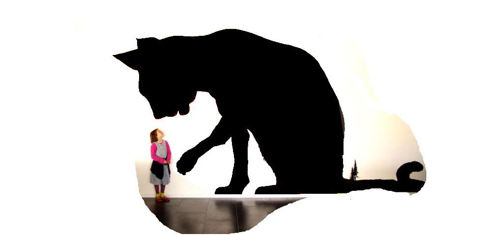 Wandbild, Vogtlandhalle, Greiz, Schattenriss, Katze, Silhouette, Mural