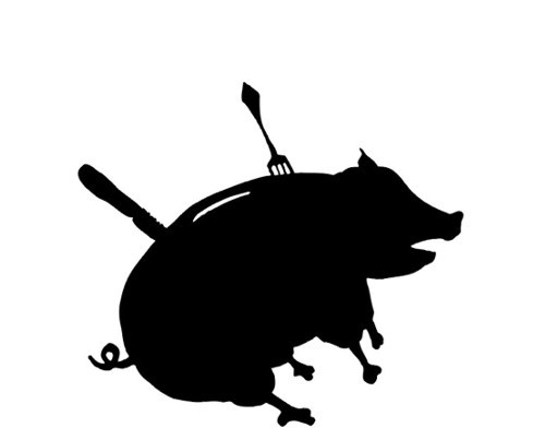Sparschwein, gechlachtet, Silhouette, Spanferkel
