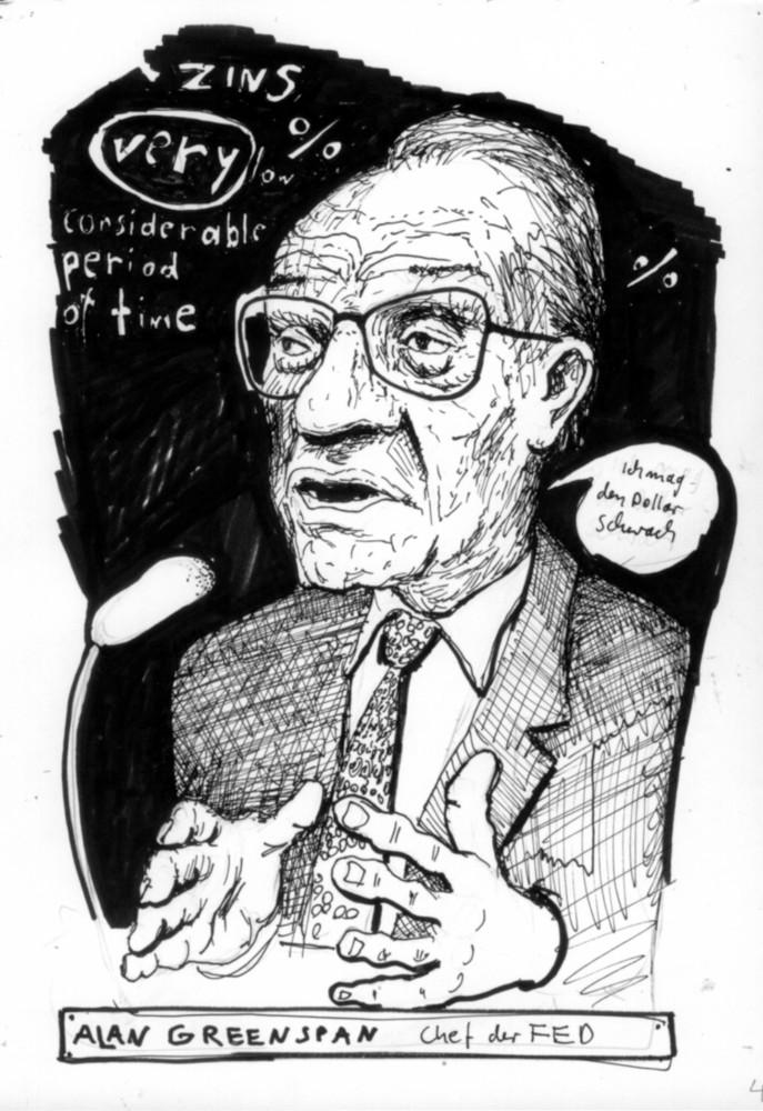 Cartoon, Infografik Ökonomie Finanzen, economy, Greenspan