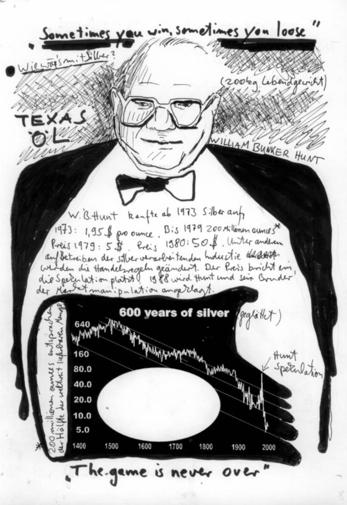 Cartoon, Infografik Ökonomie Finanzen, economy, Hunt Brothers, Silber spekulation