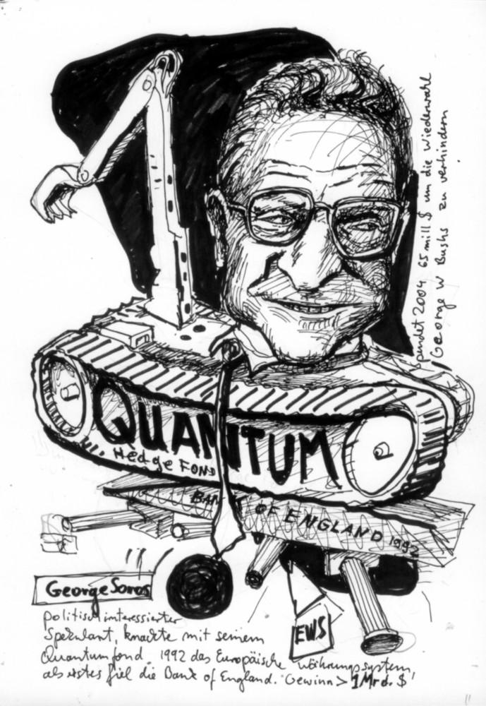 Cartoon, Infografik Ökonomie Finanzen, economy, Soros, Quantum Fonds