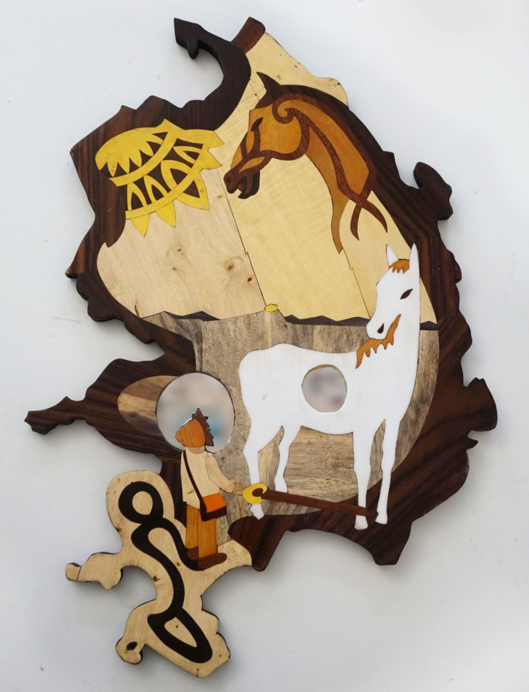 Intarsie, Wood Inlay, Art, Spiegel, Mirror, Rohan