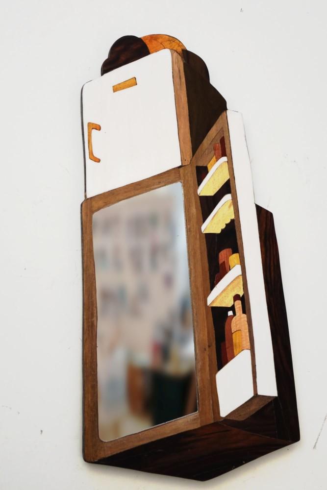 Intarsie, Wood Inlay, Art, Spiegel, Mirror, Fridge, Kuehlschrank, Schlaraffenland, Nordkore