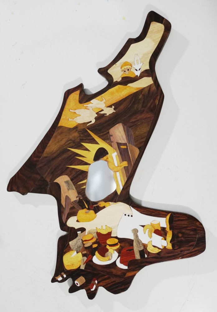 Intarsie, Wood Inlay, Art, Spiegel, Mirror