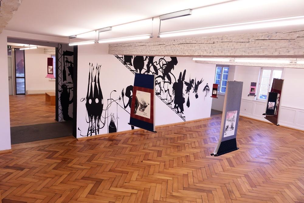 Galerie der Stadt Backnang, Orangerie bei Nacht, Henrik Schrat, wandbild, Silhouette