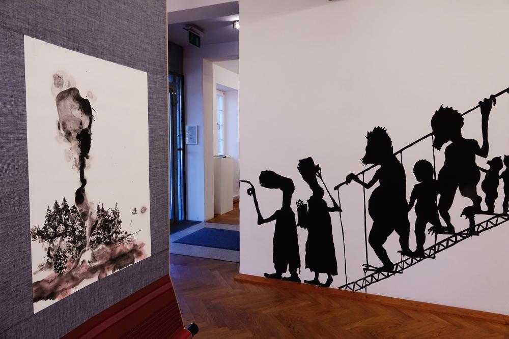 Galerie der Stadt Backnang, Orangerie bei Nacht, Henrik Schrat, wandbild, Silhouette, Mural, IT