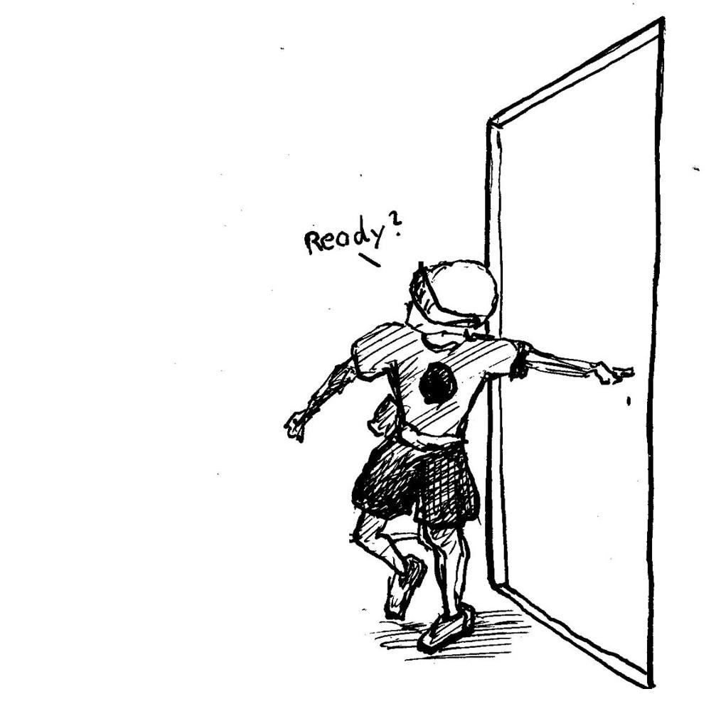 GAvin Wade opens the door