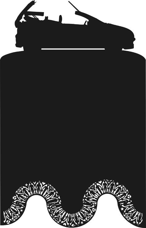 Cabrio, Silhouette, Schattenriss, Sperrholz