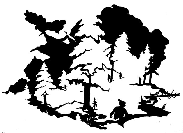 Waldlaeufer, Schattenriss. Silhouette, Sperrholz